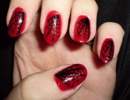 black and red spiderweb nail design by shadowcat-666