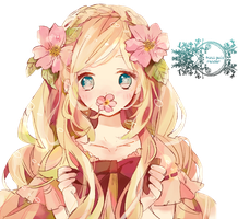 Flower blonde girl render by Pui-the-pong