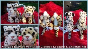 Nat Geo Lelly Clouded Leopard and Cheetah 7in by Vesperwolfy87