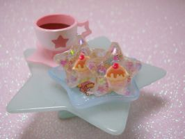Cupcake Sparkle Under Resin Star Earrings by PoniesOfDOOOM