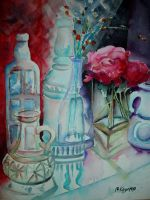 Glass Bottles and Silk Peonies 3 by p-e-a-k