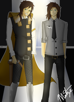 HeroTheTimeLord and Alfred the fnaf guard by Sniper-Huntress