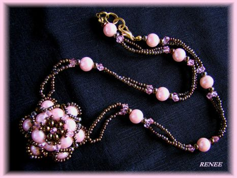 Brown and rose flower necklace by jasmin7