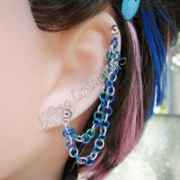 Blue, Silver and Green Cartilage Chain Earring by merigreenleaf