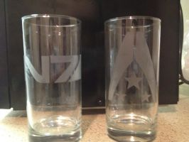 Custom Etched Mass Effect Glasses by musky4489