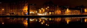 The Shore at Night Pano by SRussellPhotos