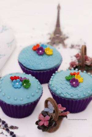 Lavender Cupcakes with Marshmallow Fondant by theresahelmer
