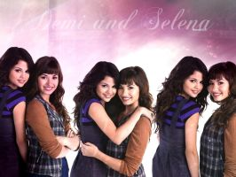 Demi and Selena Wallpaper by Meeltje2951