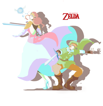 Zelda and Link by Gribouillonne