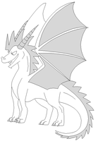 Free Dragon Lineart by tacobird