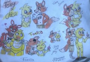 .::Foxy x Chica doodles :3::. by gloriapainthtf