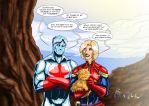 Captain Atom ( DC ) and Captain Marvel ( MARVEL ) by adamantis