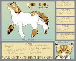 Coldstar Reference Sheet- Warriors of Broken Skies by silver-moonwolf