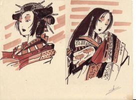 Ancient Japan girls by Samael1103