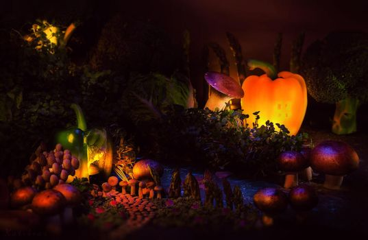 A Magical World Made of Vegetables (Foodscape) by KatiBear