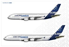 Airbus A380-800 and A380-1000 vision comparing by Leikoo