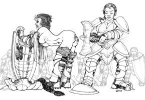 Dwarves' spanking by wonderElagon