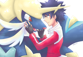 Pokemon BW2 Hugh and  Samurott !! by Foxmi
