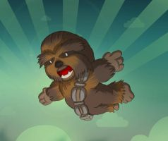Flying Wookie by mogstomp