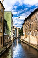 Prague Canal and Balloon by Roamerick