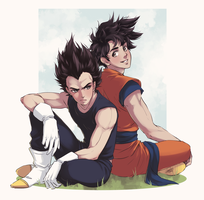 Goku and Vegeta by Emily-Fay