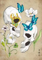 Flower and butterfly and skull. by Takihisa