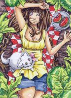 Aceo 362 Picnic in the Melon Field by UltimateManakeks