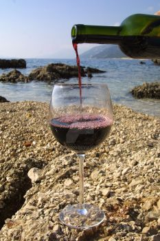 Red wine on the pebble beach by swanstudio