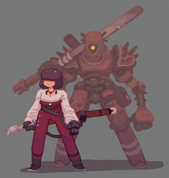 Sword Girl and Sword Bot by Nerd-Scribbles