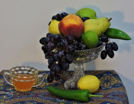 Fruit in a Crystal Bowl by Artlune