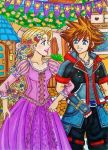 Sora and Rapunzel: Kingdom Dance by dagga19