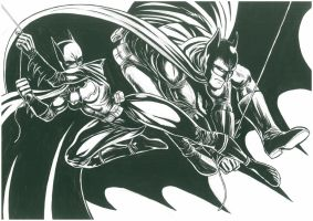 Batgirl and Batman by Bernardohq