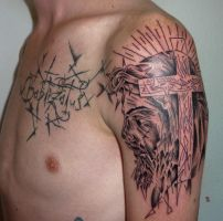 abstract jesus tattoo by D3adFrog