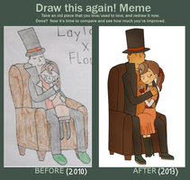 Draw this again meme - Layton and Flora by kenabe