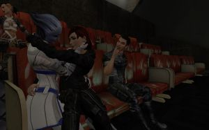 Kaidan making fun of Femshep and Liara by Velvet-Asari89