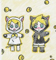Rin And Len kitten chibi by whitewolf564