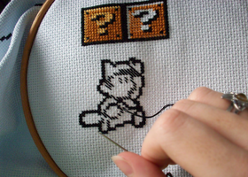 Mario Cross-Stitch WIP by Hollulu