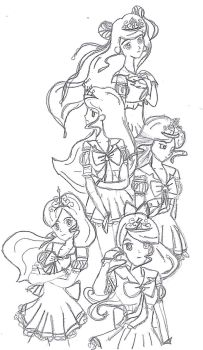 Element Sailor Group Lineart by anxious-ashley