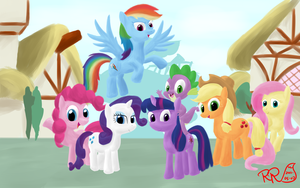 MLP FiM Group Picture by Reginart-Renart
