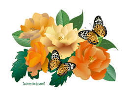 Golden Roses and Butterflies by desmo100