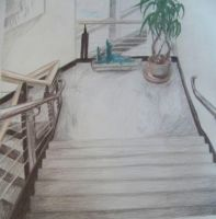 Stairway Study, Colored Pencil by RheaZar