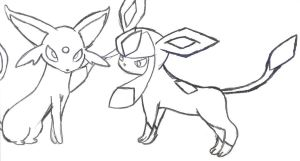 Espeon and glaceon by pokefan444