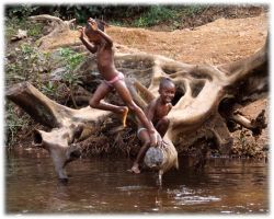 Playing at the river by Fontarwe