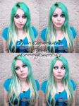 Green Hair Face Expression by cherrybomb-81