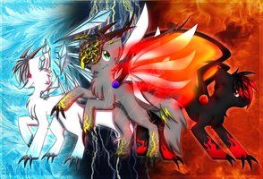 Fire, Ice, and Lightning Monsunos **REDRAW** by StellaKitsuna