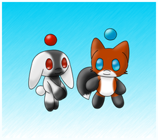 Bunny and Fox Chao by AlenaChen
