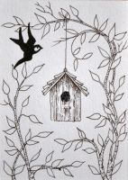 ATC Birdhouse Pen and Ink by waughtercolors
