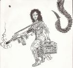 Fan Art Friday: Ellen Ripley--Inks by JordanLCook