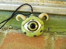 Green Monster Eye Pendant by iHeartMutants