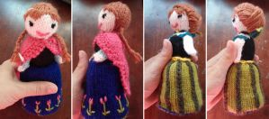 Anna Flip Doll from Frozen by kateknitsalot